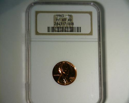 1963 PROOF  LINCOLN CENT  NGC PR-69 RD  NICE LOOKING COIN!!