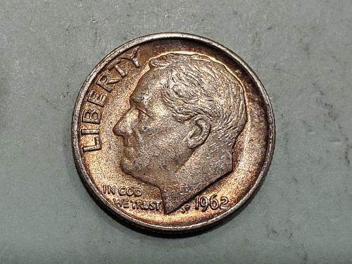 1962 Roosevelt Dime with Toning