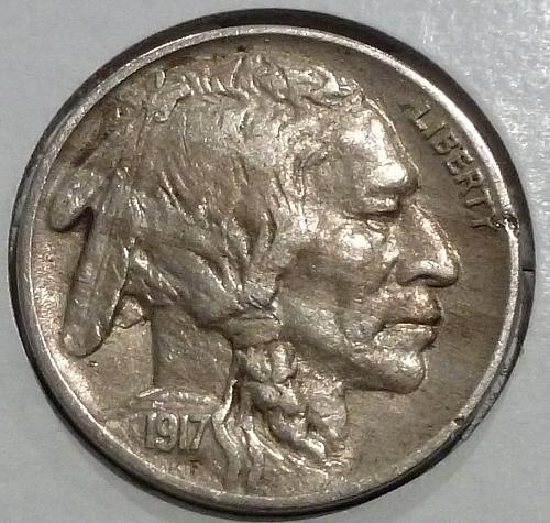 1917-P  ABOUT UNCIRCULATED Buffalo Nickel AU ( Z-500 )