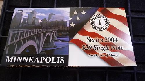 2004  $20 DOLLAR MINNEAPOLIS, MN SERIAL # EI 000002875A  WITH COA  D-3-21