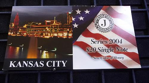 2004  $20 DOLLAR KANSAS CITY,  MISSOURI SERIAL # EJ 000003276A  WITH COA  D-3-21