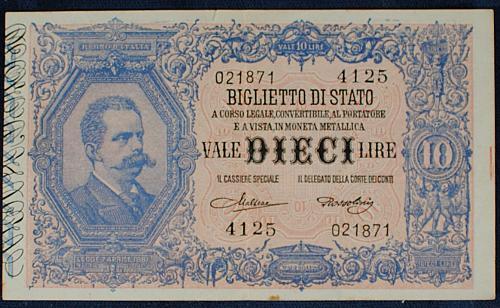 Italy P20h 19 Lire VF