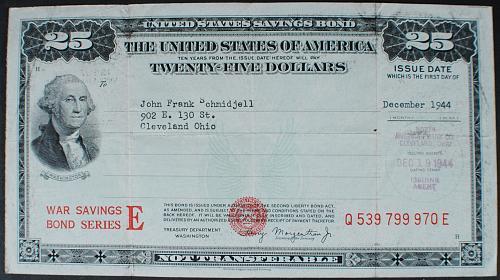 1944 Series E War Savings Bond $25