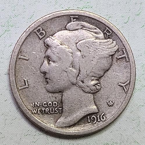 1916 Mercury Dime Very Fine-20 Pretty Light Olive Grey Original Patina!