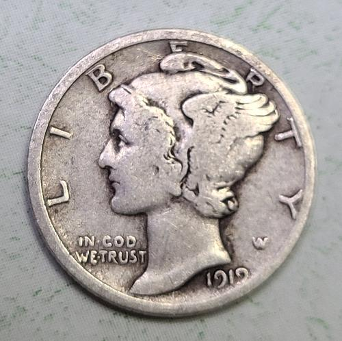 1919-D Mercury Dime Very Good-8 ROTATED REVERSE 15 Degrees Right!