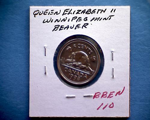 "1998 W CANADA FIVE CENTS QUEEN ELIZABETH 11  ""WINNIPEG MINT"""
