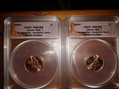 2009-P & D Lincoln Cents. ANACS MS67 RD. Formative Years.
