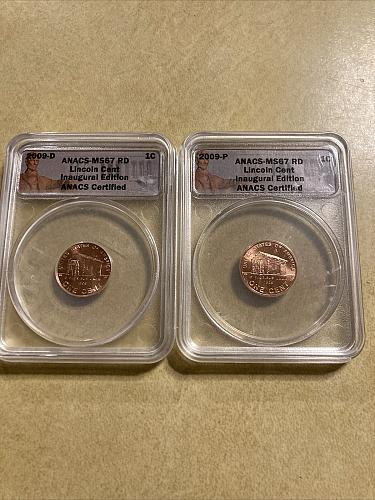2009-P & D Lincoln Cents. ANACS MS67 RD. Birth Place LP1.