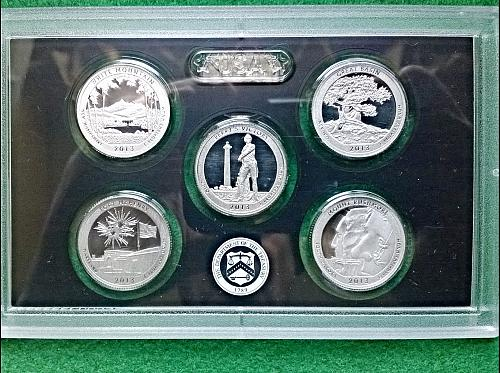 2013 S America the Beautiful Quarters Silver Proof Set - 5 Coins - 10 Photos!
