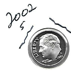 2002  S  SILVER  PROOF ROOSEVELT DIME