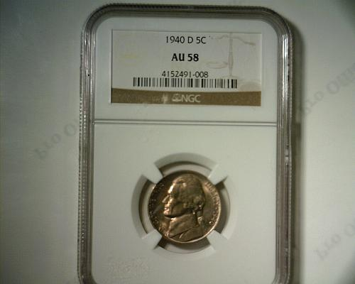 1940  D JEFFERSON NICKEL NGC  AU-58  GREAT LOOKING COIN!!