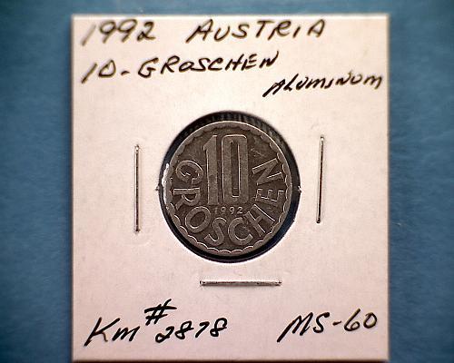 1992 AUSTRIA TEN GROSCHEN
