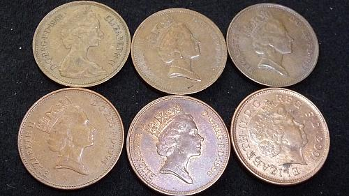 1980-85-87-94-96-2001 GREAT BRITIAN *TWO PENCE* IN VARIOUS CONDITIONS  D-7-21