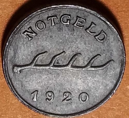 1920 GERMANY - CUD ERROR FREUDENSTADT 2 PFENNIG NOTGELD