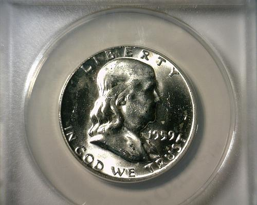1959 D  SILVER  FRANKLIN HALF DOLLAR  ANACS MS-64 FBL  NICE LOOKING COIN!!