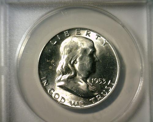 1953 D  SILVER  FRANKLIN HALF DOLLAR  ANACS MS-64 FBL  NICE LOOKING COIN!!