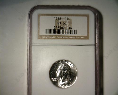 1958  SILVER WASHINGTON QUARTER  NGC MS-65   NICE LOOKING COIN!!