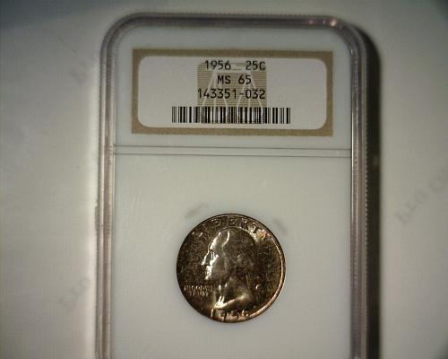 1956  SILVER WASHINGTON QUARTER  NGC MS-65   NICE LOOKING TONED COIN!!