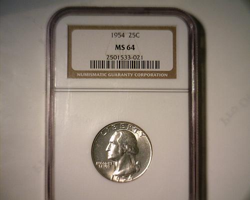 1954  SILVER WASHINGTON QUARTER  NGC MS-64   NICE LOOKING COIN!!
