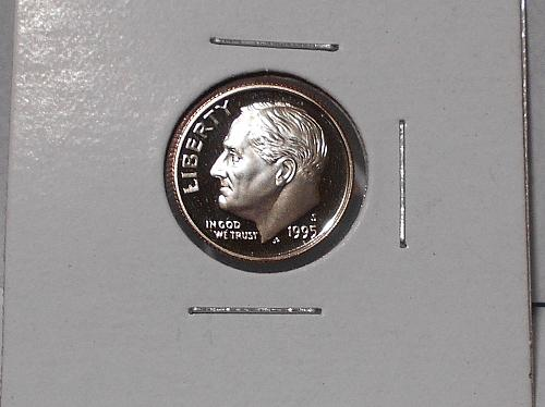 1995 S Proof Clad Roosevelt dime. Nice cameo coin