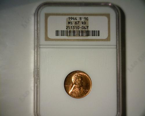 1944 S  LINCOLN CENT  NGC MS-67 RD  NICE LOOKING COIN!!