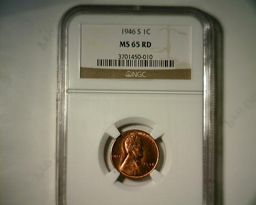 1946 S  LINCOLN CENT  NGC MS-65 RD  NICE LOOKING COIN!!