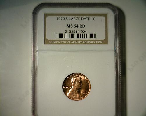 1970 S  (LARGE DATE)  LINCOLN CENT  NGC MS-64 RD  NICE LOOKING COIN!!