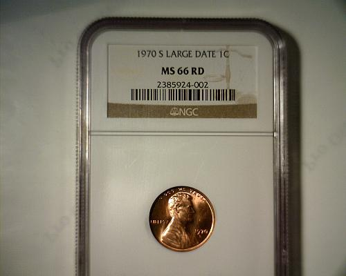 1970 S  (LARGE DATE)  LINCOLN CENT  NGC MS-66 RD  NICE LOOKING COIN!!