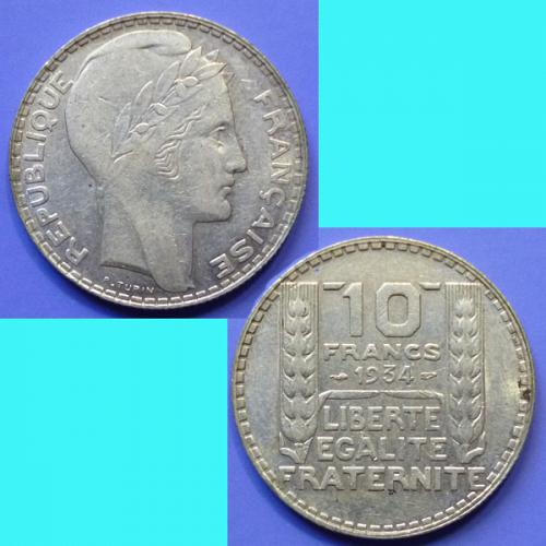 France French Francaise 2 Pieces 10 Francs 1933 & 1934 km 878 Silver