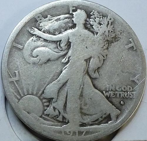 1917-S OBVERSE Very Good Walking Liberty Half Dollar  ( H-411 )