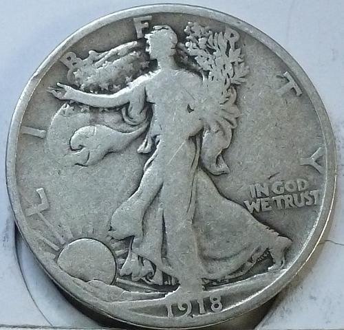 1918 S Walking Liberty Half Dollar in Fine Grade ( H-408 )