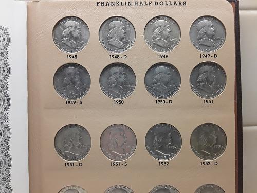 FRANKLIN SILVER HALF DOLLARS 1948-1963  TOTAL COINS 35