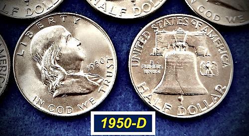 "1950-D Franklin  ⭐️   ""AU""   ⭐️   95% Bell Lines  ⭐️   (r8458)"