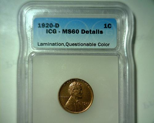 1920 D  LINCOLN CENT ICG MS-60 DETAILS  NICE LOOKING COIN!!