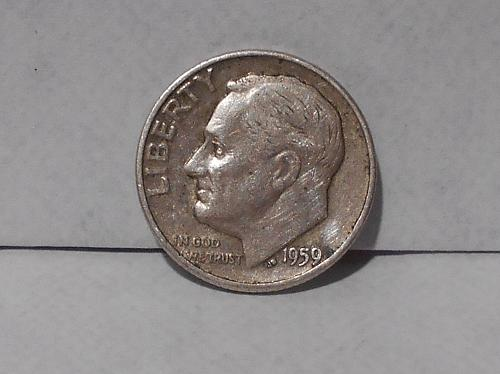 1959 D Roosevelt dime circulated