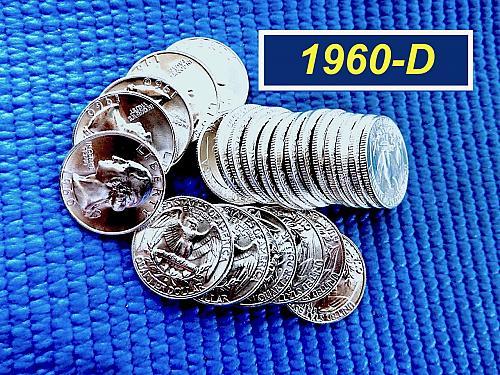 """1960-D  """"BU"""" Silver Quarter ☆ Lustrous Coins Gradeable as MS64/65 ☆ (2946)"""