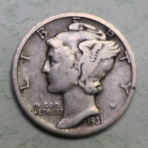 1931-D Mercury Dime Fine-12 Underrated Semi-Key Date!