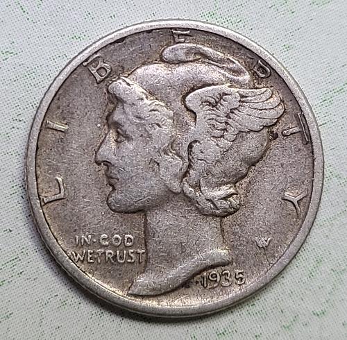 1935-D Mercury Dime Extra Fine-45 Nice Light Pearl Grey Silver!