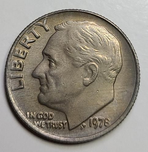 1978 Roosevelt Dime MS-64 (Near Gem) Gorgeous Sunset Red Toned Obverse!