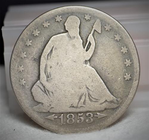 1853 Seated Liberty Silver Half Dollar - G
