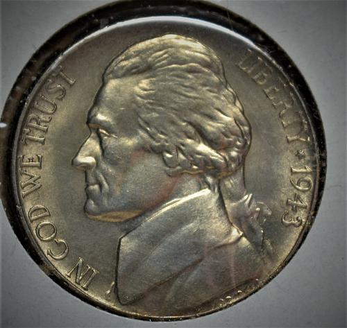 1943 S Jefferson Silver Nickel - BU with steps