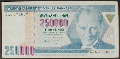 Turkey P211 250000 Lira VF
