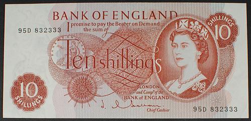 Great Britain P373b 10 Shillings AU