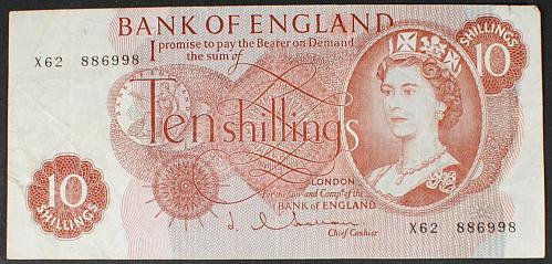 Great Britain P373b 10 Shillings Fine