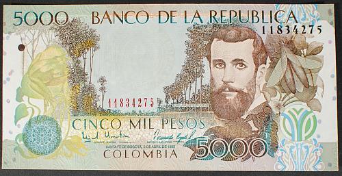 Colombia P447b 5000 Pesos XF