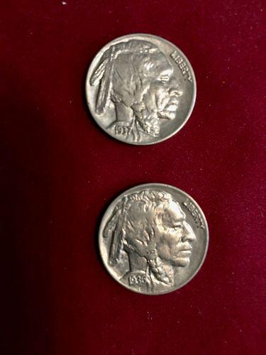 2 Buffalo Nickels. 1930,s