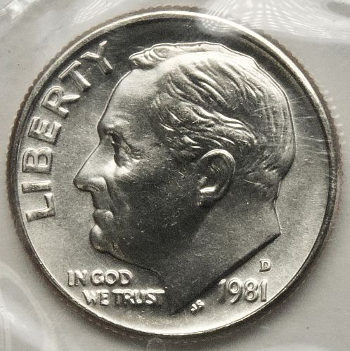 1981 D Dime Nickel#5 In Mint Cello
