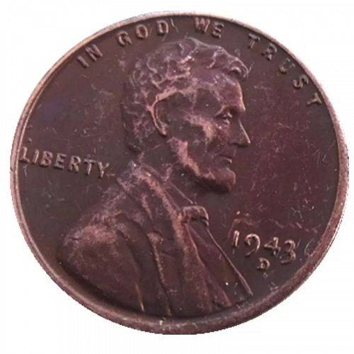 1943 D Small Cent Lincoln Penny, 'COPY' Stamped on Reverse