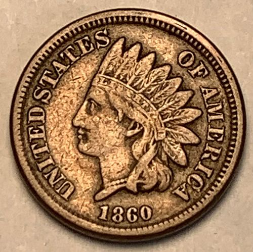 1860 Blunt Bust Indian Head Cent VF [IC 52]