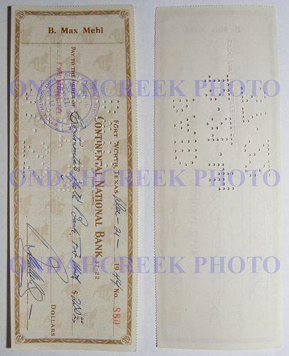 B Max Mehl Cancelled Check Dec 21 1944 No 880